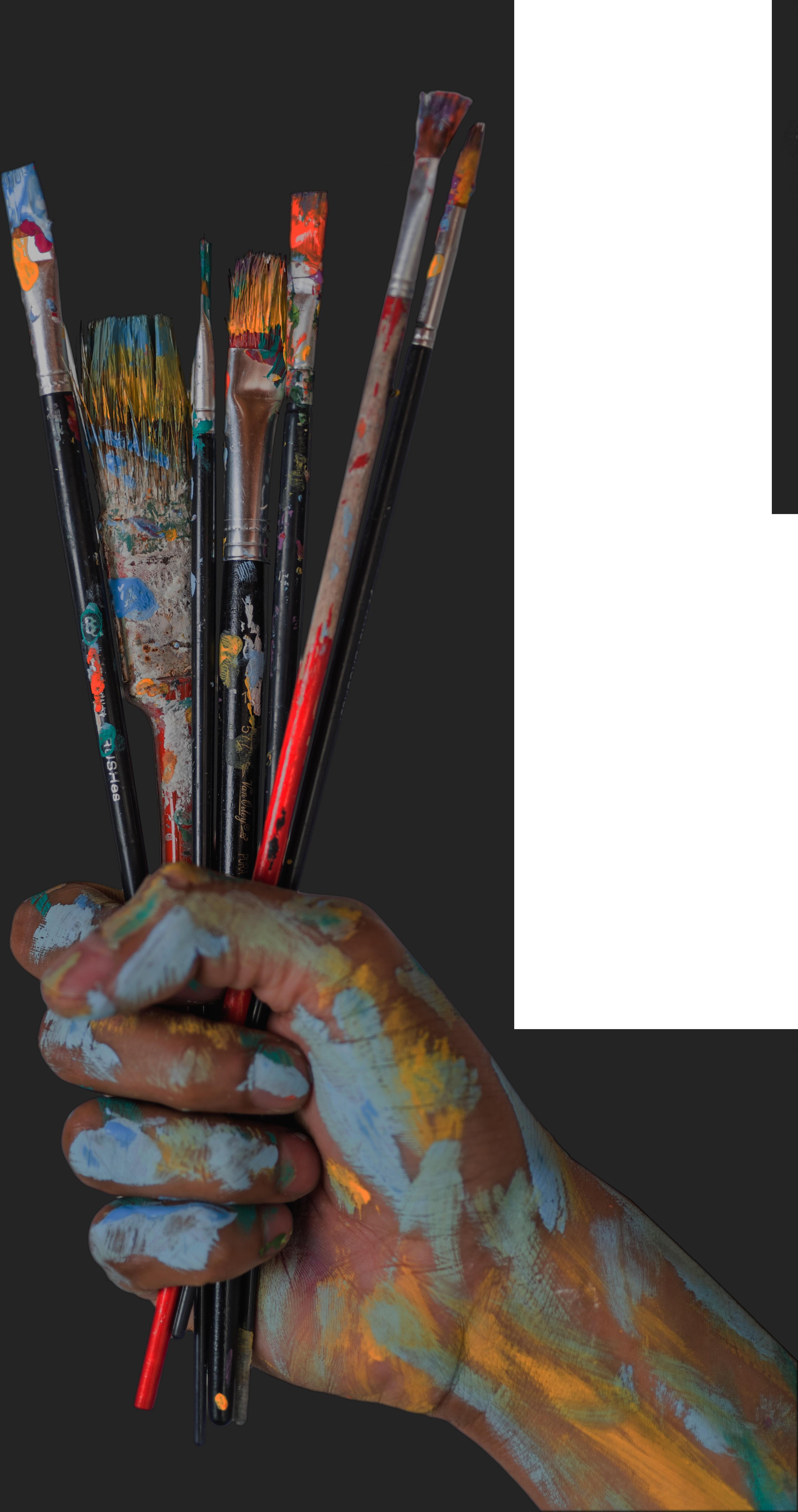 main et pinceaux, peinture